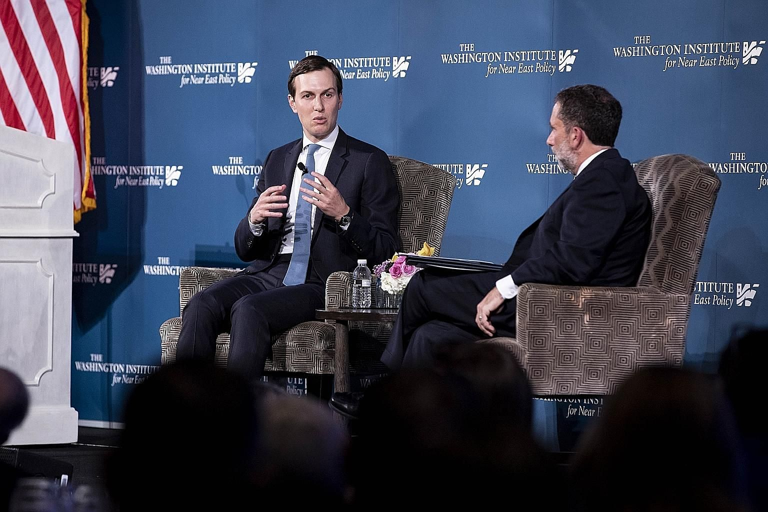 Senior White House adviser Jared Kushner speaking with Washington Institute for Near East Policy executive director Robert Satloff on Thursday. Mr Kushner said his team has spoken to the Palestinian business community and ordinary residents and belie