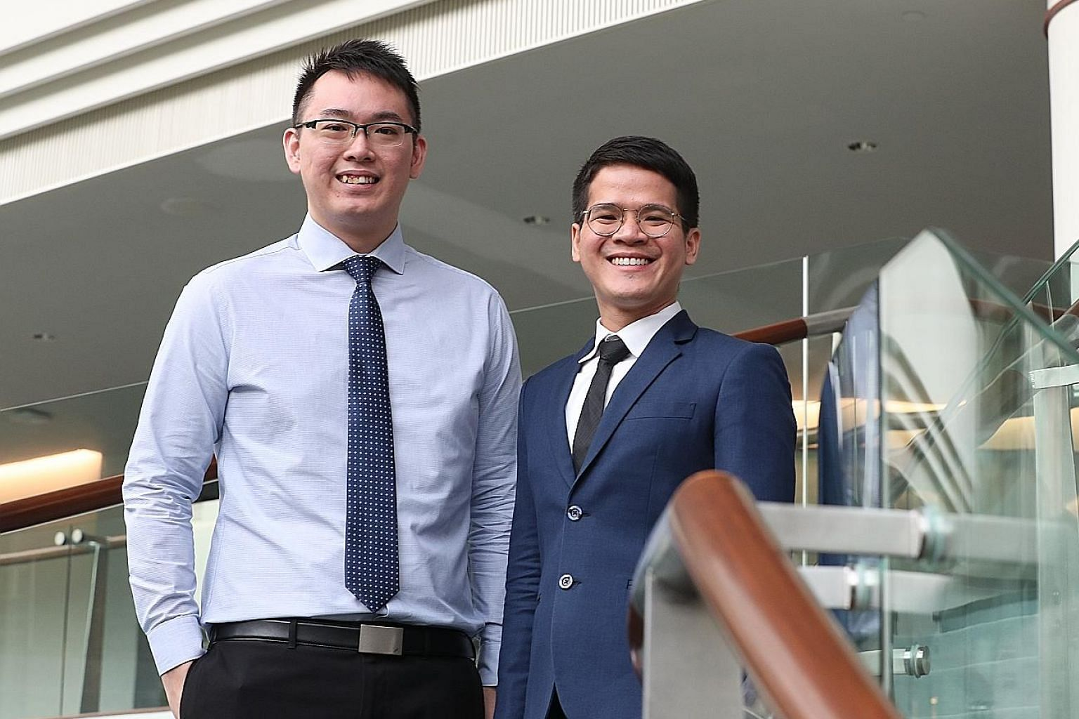 Tan Tock Seng Hospital patient service executive Johnsten Wee (far left) and DBS Bank wealth planning manager Wai Chee Man were among the six recipients of the inaugural Model Worker award.