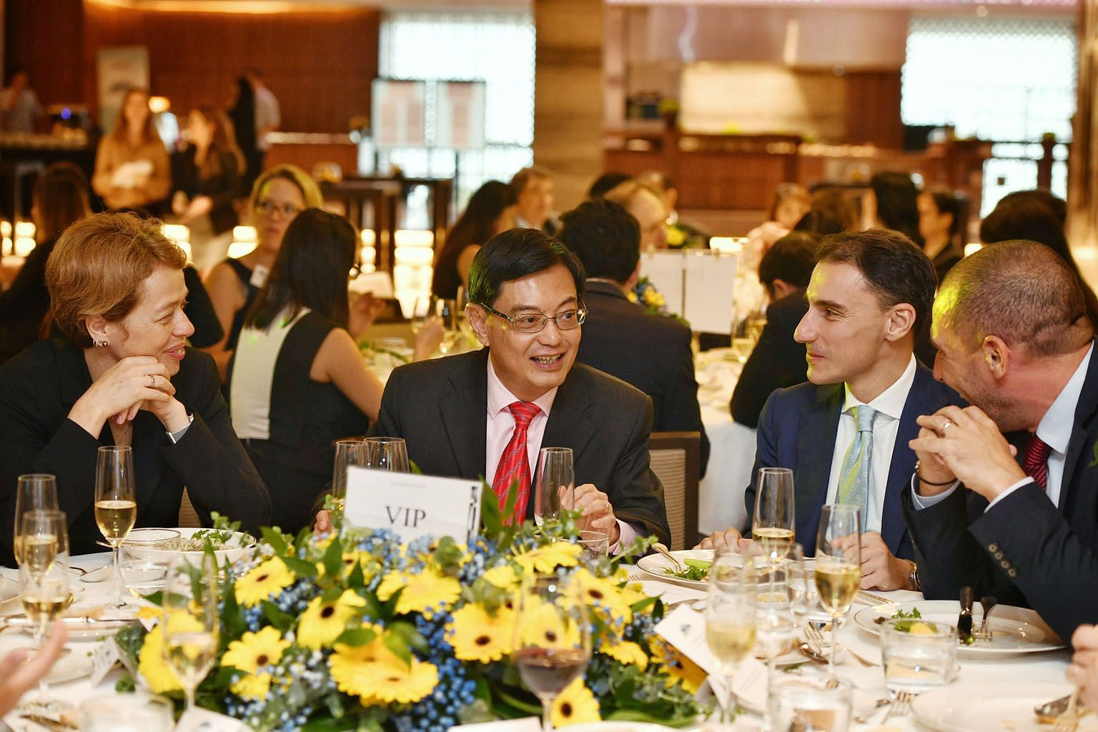 Deputy Prime Minister Heng Swee Keat with EU Ambassador to Singapore Barbara Plinkert, European Chamber of Commerce president Federico Donato and Pernod Ricard Singapore's managing director Cedric Retailleau (far right) at the Europe Day luncheon att