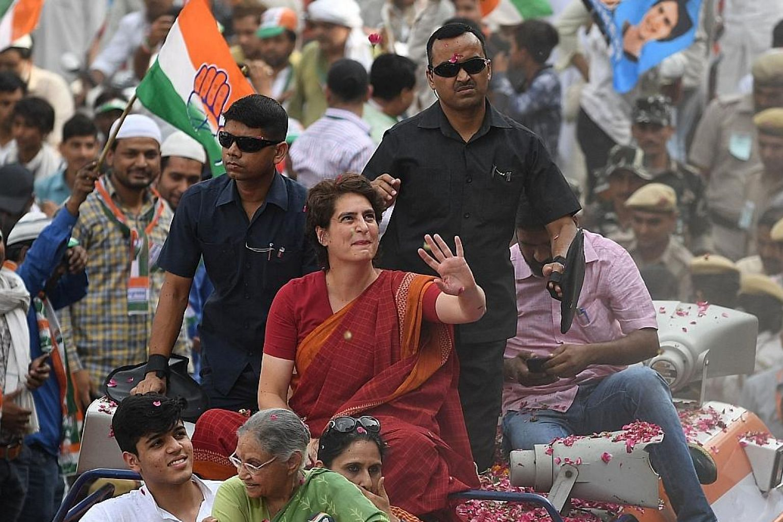 Ms Priyanka Gandhi Vadra, the Congress party's general secretary for eastern Uttar Pradesh, at an election roadshow rally in New Delhi yesterday. Earlier this year, she was formally launched into politics in Uttar Pradesh state, where Congress is not