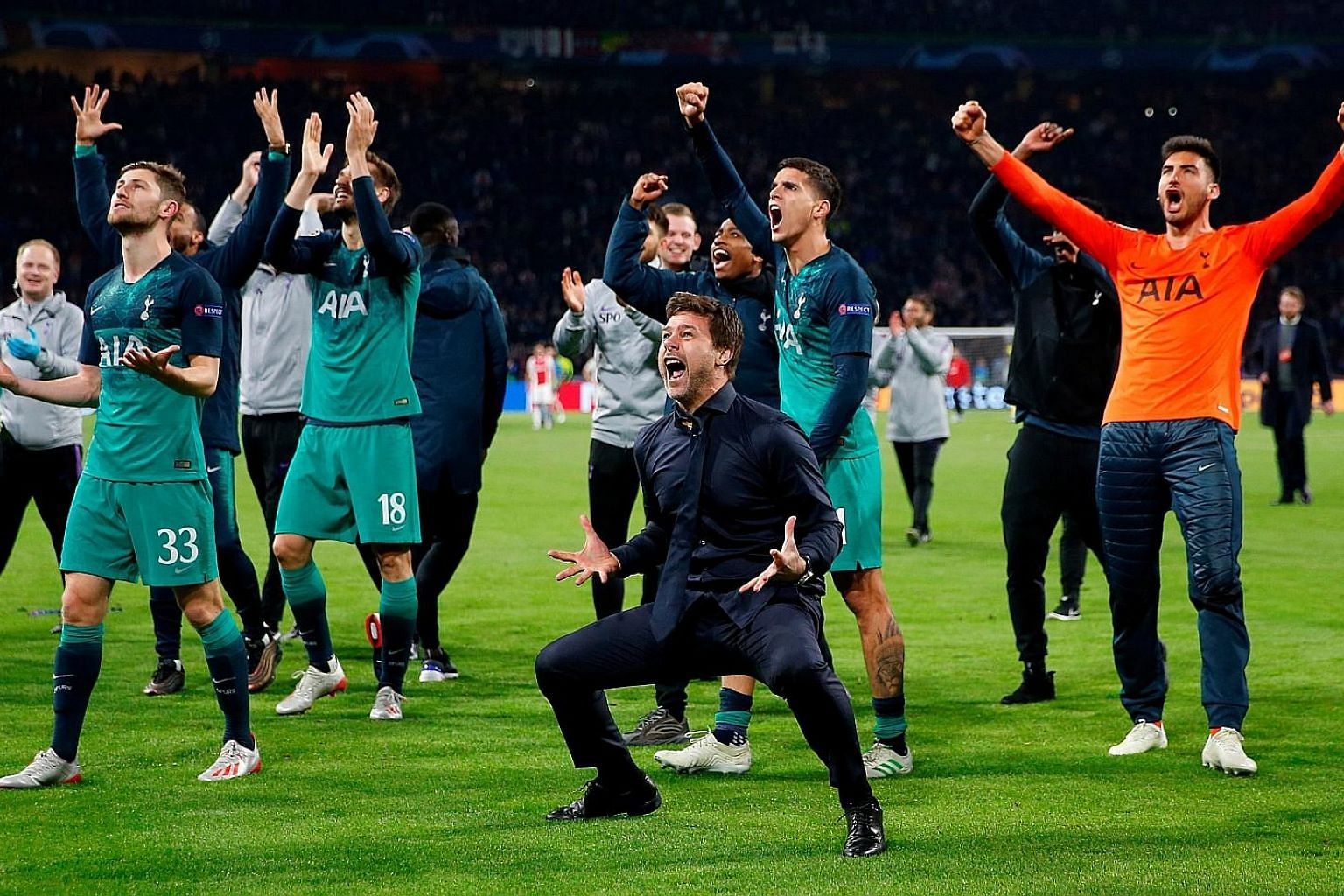 An ecstatic Tottenham manager Mauricio Pochettino finding it hard to control his emotions after his team's fightback to defeat Ajax 3-2 on Wednesday and going through to the Champions League final on away goals. The Argentinian has yet to win a troph