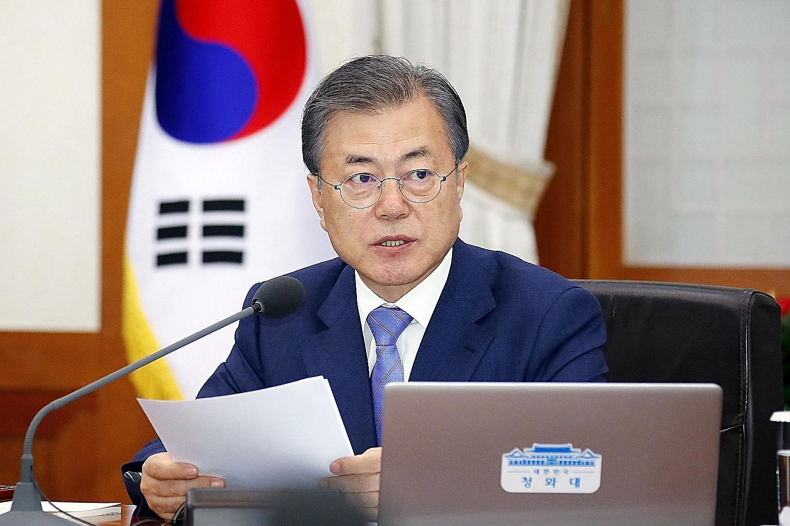 South Korean President Moon Jae-in's attempts to improve ties with North Korea and to boost the sluggish economy have both stalled. PHOTO: DPA