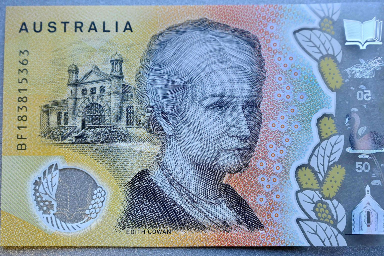 Australia's new $50 banknote. A central bank spokesman said the error will be corrected at the next print run.
