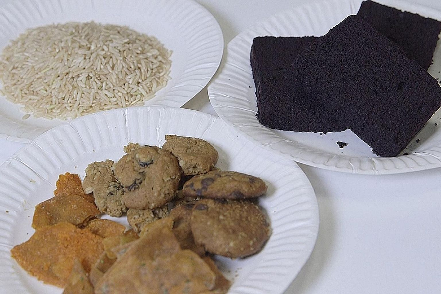 Brown rice from The Little Rice Company, tortilla chips made from cricket flour and brownies that release sugar slowly.