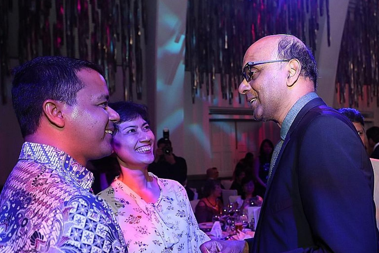 Senior Minister and Coordinating Minister for Social Policies Tharman Shanmugaratnam with Tanjong Pagar GRC MP Joan Pereira and Holland-Bukit Timah GRC MP Christopher De Souza, at the Eurasian Association's fund-raising dinner last night.