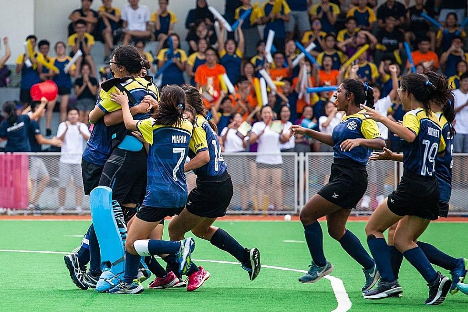 Euphoria for Eunoia Junior College as their girls' hockey team win the school's first A Division title in any sport. Their goalkeeper continued her clean-sheet feat while their captain made the only penalty conversion in the shoot-out.