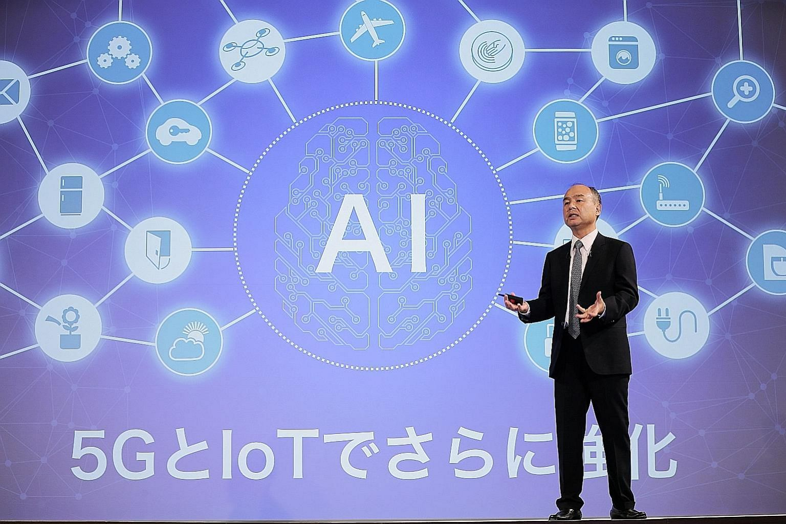 Mr Masayoshi Son, chairman and chief executive officer of SoftBank Group, speaking at an earnings presentation in Tokyo on Thursday, when he said the firm booked a US$3.8 billion (S$5.1 billion) gain from its stake in Uber Technologies. The day after