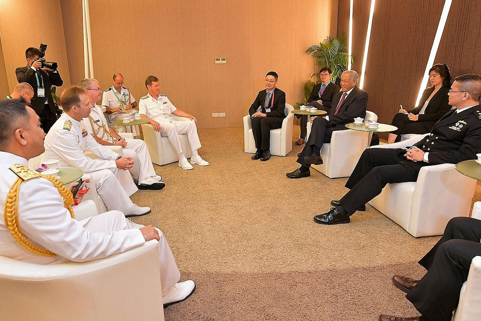 Naval chiefs of the Five Power Defence Arrangements member nations calling on Minister for Defence Ng Eng Hen yesterday.