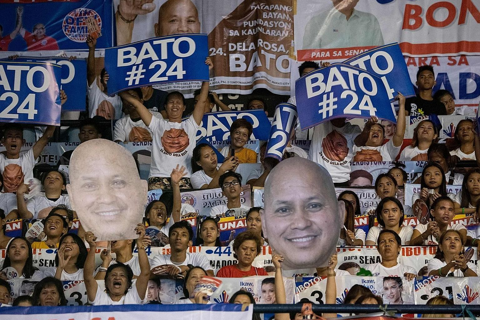 Mr Ronald dela Rosa's supporters at an election campaign in Manila earlier this month. The former police chief, who is seeking a seat in the Philippine Senate, is said to have won 18 million votes in this week's election.