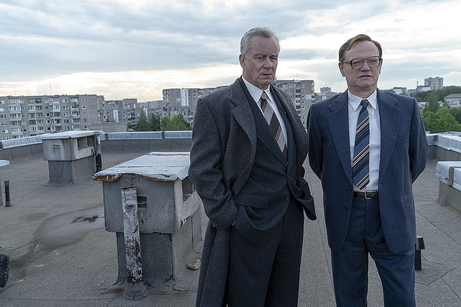 Chernobyl, which examines the 1986 nuclear plant meltdown in Ukraine, stars Stellan Skarsgard (far left) and Jared Harris (left). L.A.'s Finest is a police drama starring Jessica Alba (above).