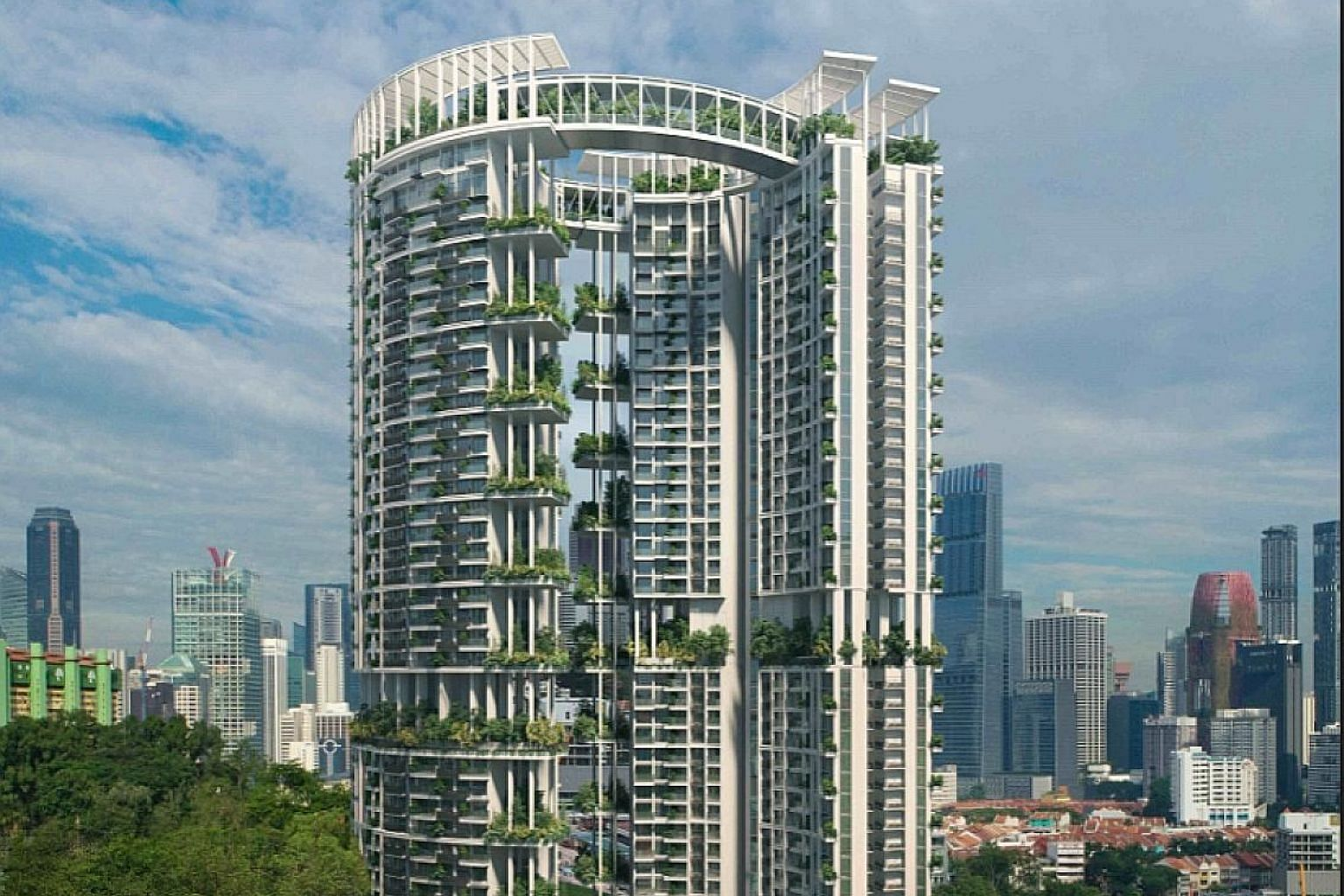 """CapitaLand unveiled the design of One Pearl Bank on Tuesday. Some in the heritage and architectural fraternities said the design felt """"safe"""", and that they expected something more innovative."""