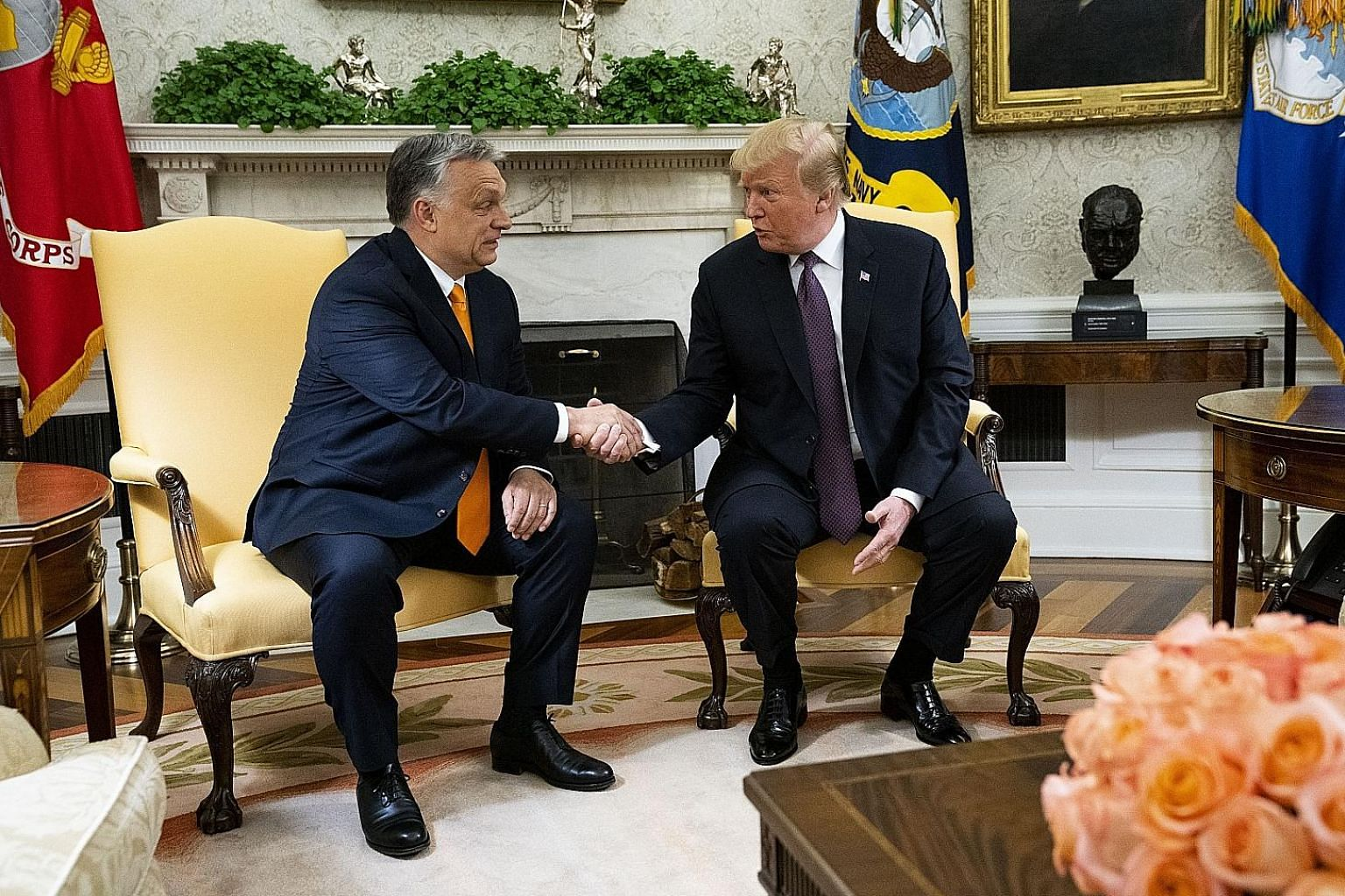 US President Donald Trump with Hungarian Prime Minister Viktor Orban at the White House on Monday. Critics in both the US and Europe slammed the meeting, but as leader of an EU member state, Mr Orban regularly meets other continental heads of states