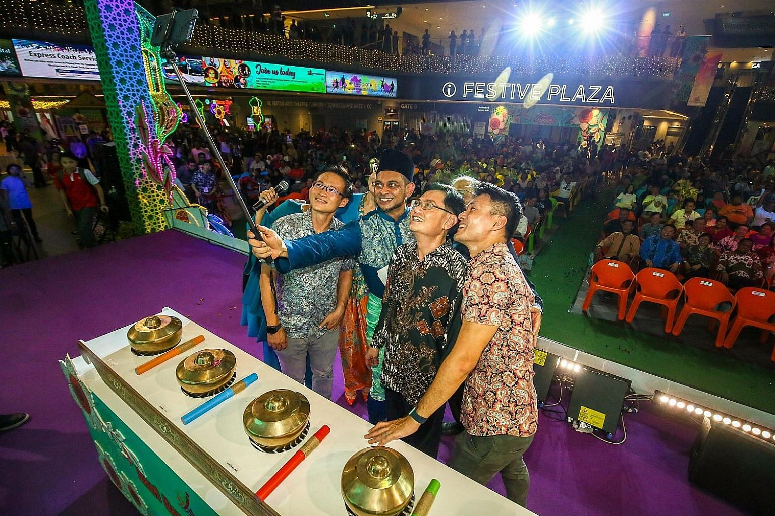 Deputy Prime Minister Heng Swee Keat with his fellow Tampines GRC MPs at the launch of Our Tampines Hub's annual Hari Raya Bazaar yesterday. With him are (from left) Mr Desmond Choo, master of ceremonies Adi Rahman and Mr Baey Yam Keng. Mr Masagos Zu