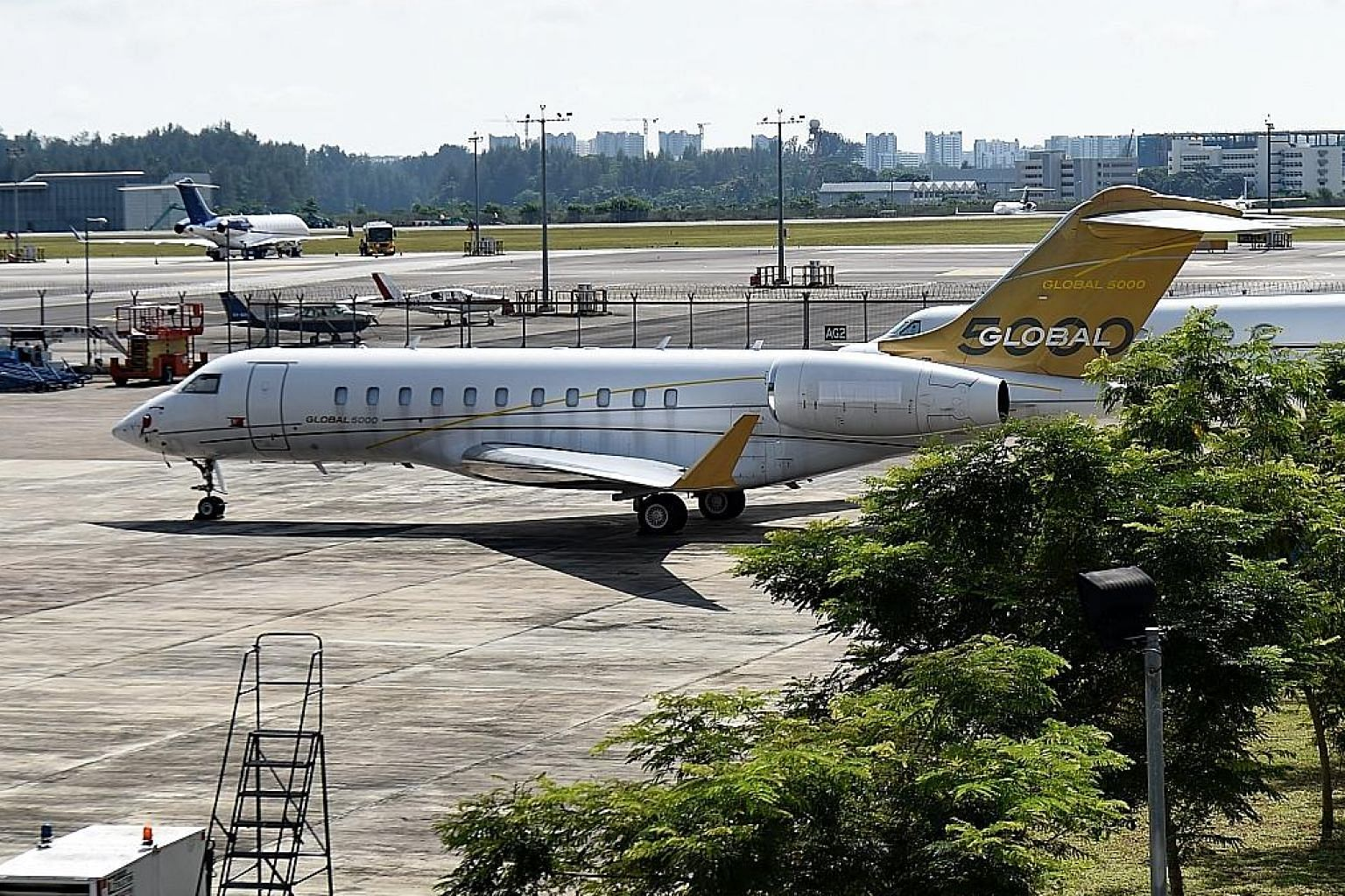 A photo taken on Feb 6, 2017 of a Bombardier Global 5000 plane, without a body number, parked on the tarmac of Seletar Airport in Singapore.