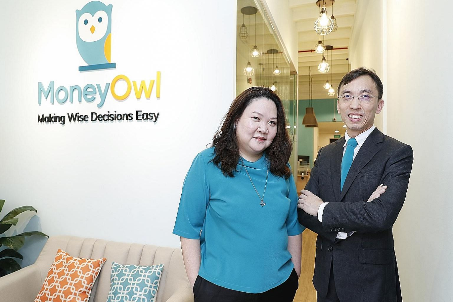 Chief executive Chuin Ting Weber and executive director Christopher Tan from MoneyOwl, which provides bionic financial advisory. Bionic advisory uses robo-advisers - with salaried human advisers - to deliver advice.