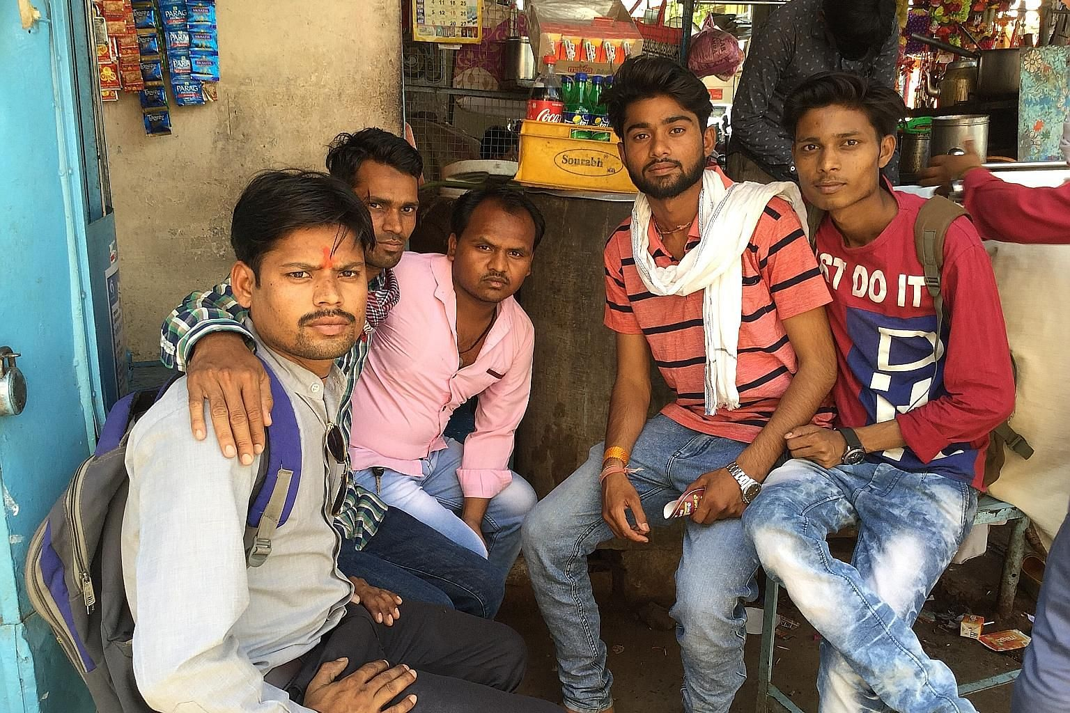 A group of beneficiaries of India's urban employment guarantee scheme in Raisen, Madhya Pradesh, which is controlled by the Congress party. Unemployment is a key concern in the Indian parliamentary elections but critics say the BJP government has mad