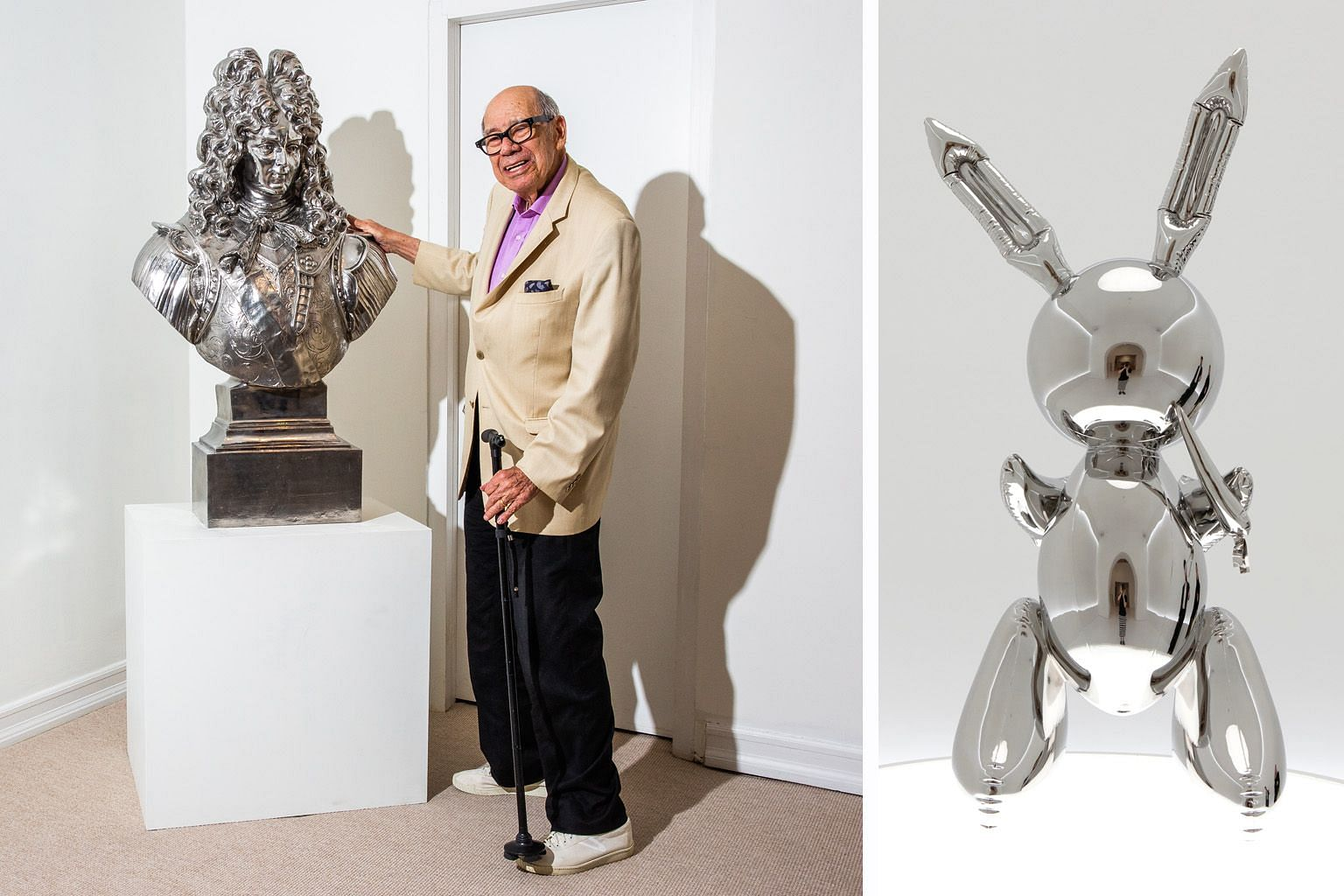 Gallerist and former Goldman Sachs partner Robert Mnuchin, at his gallery with Louis XIV by Jeff Koons, bought Koons's Rabbit (above) for US$91.1 million (S$126 million) last week on behalf of an anonymous client, setting a record price at auction fo