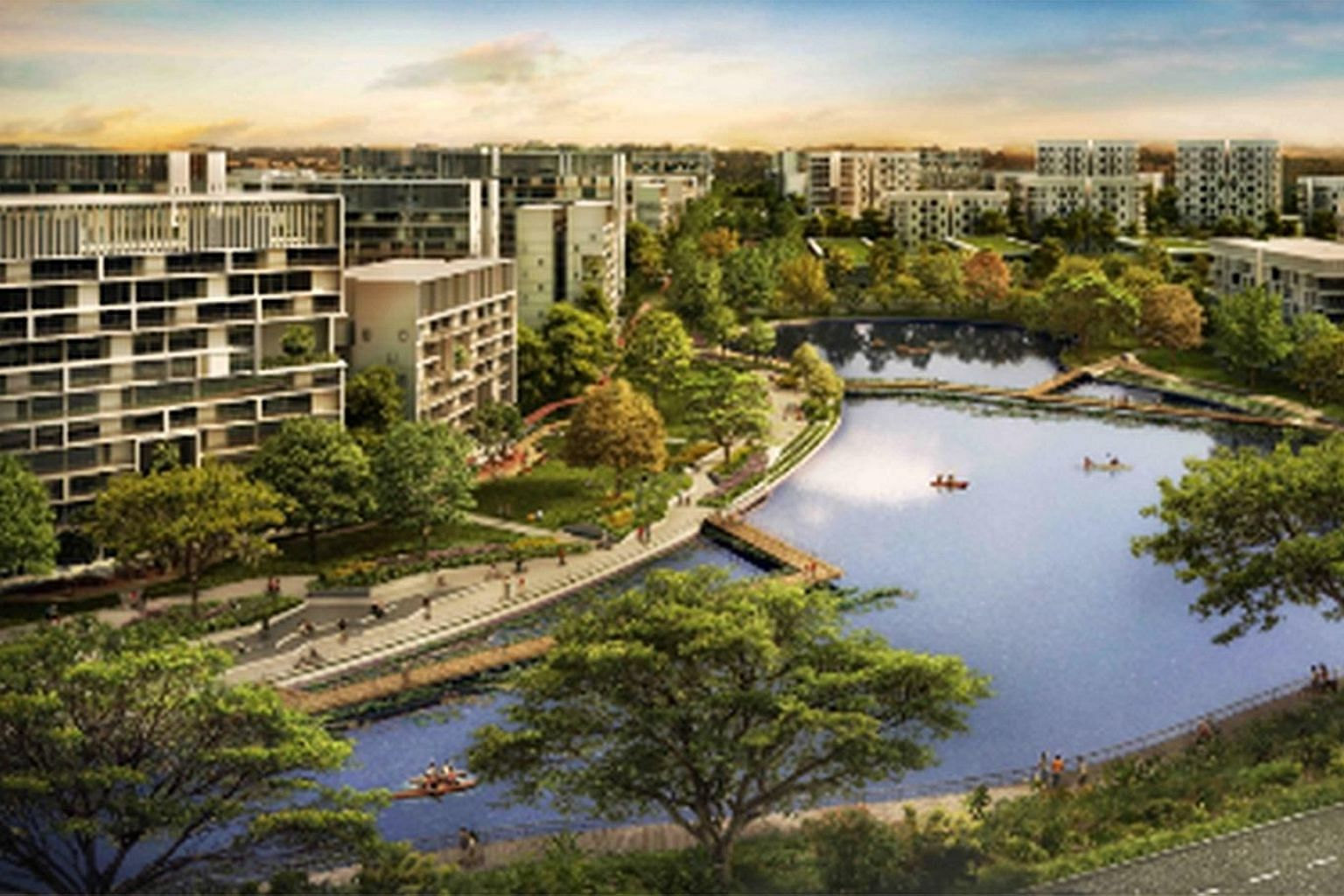 The Housing Board's latest sales exercise includes 1,193 Build-To-Order flats in the Garden District of the Tengah estate in western Singapore. Another 987 units will be at the nearby Plantation District.