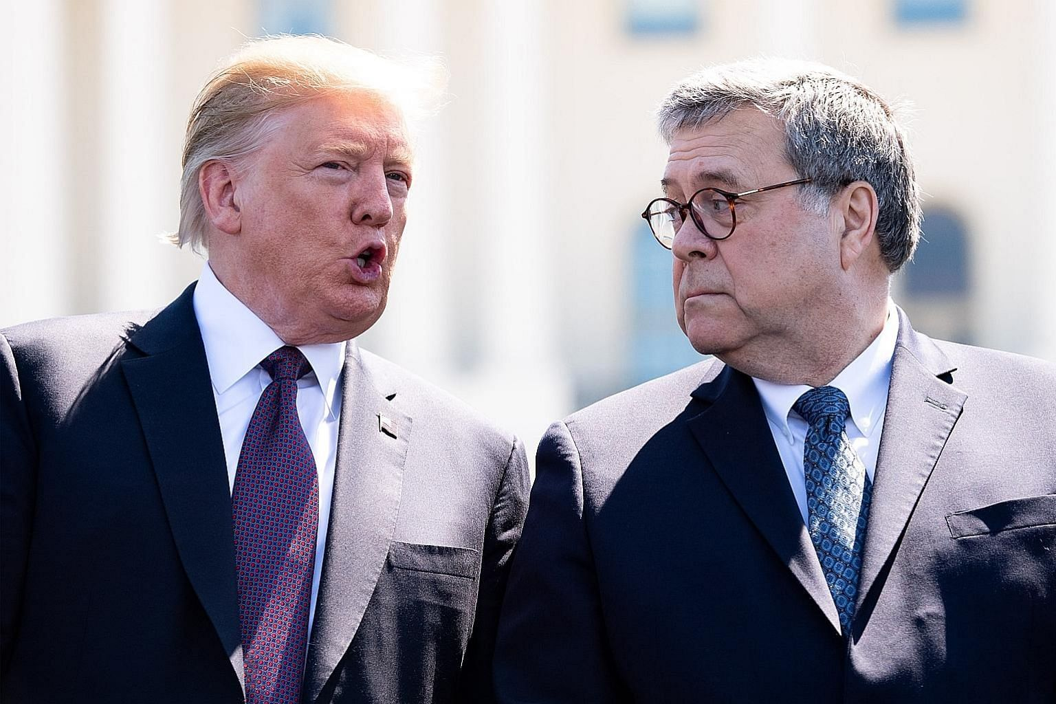 "President Donald Trump with Attorney-General William Barr earlier this month. Mr Barr is to launch an investigation into ""surveillance activities during the 2016 presidential election"". PHOTO: BLOOMBERG"