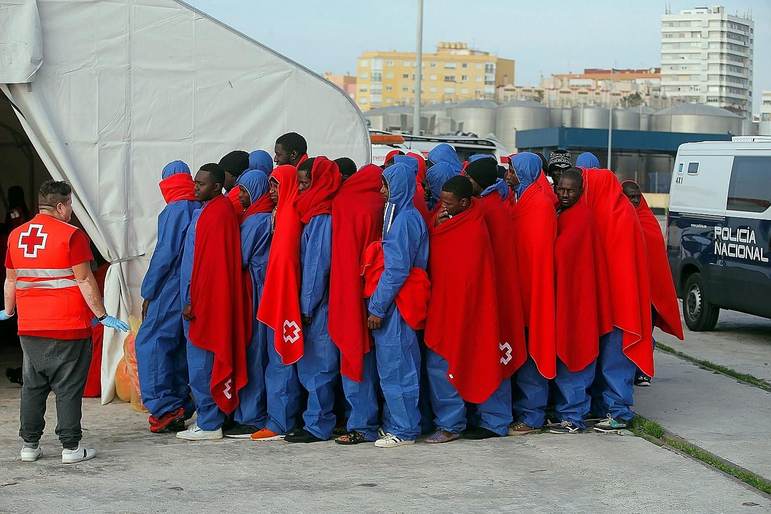 Migrants after disembarking from a rescue boat in Malaga, Spain. Of late, the number of refugee claimants in Europe is down by more than half from 2016 levels. Statistics suggest that even then, the population did not swell with the arrival of refuge
