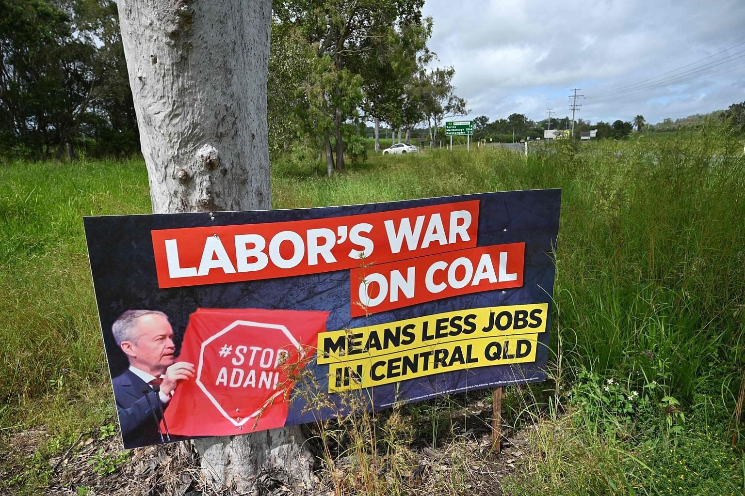 An anti-Labor election message put up in Bowen in northern Queensland early this month. Australian Prime Minister Scott Morrison's coalition, which strongly backed Indian mining giant Adani Group's controversial proposal to build a coal mine, won 58