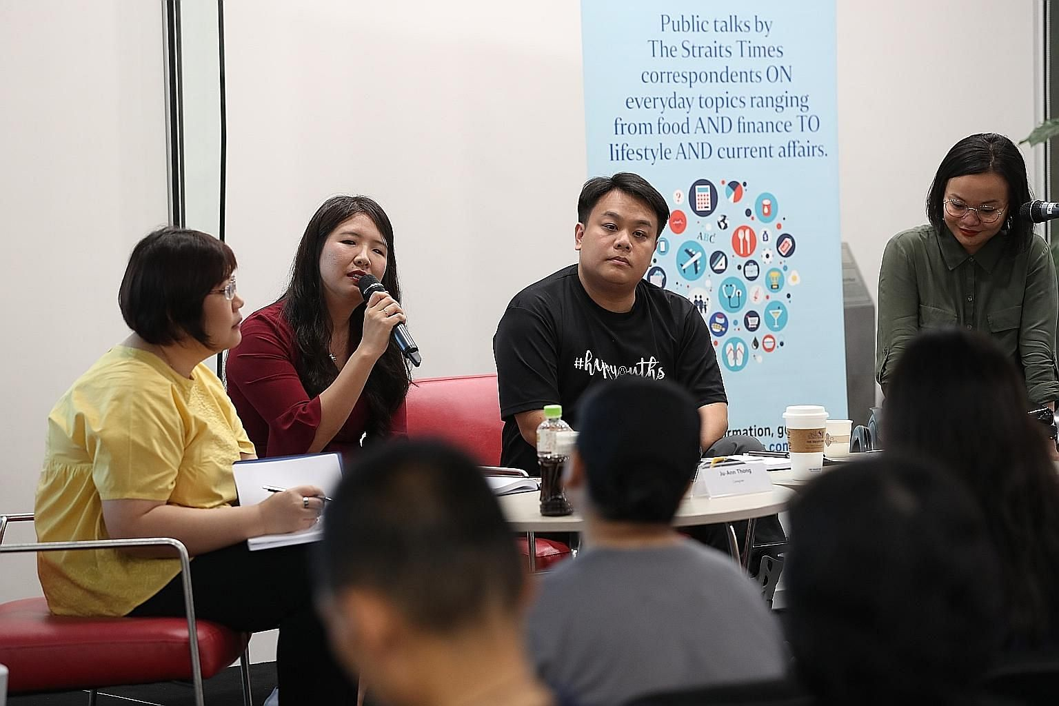 At the session were (from left) ST senior social affairs correspondent Theresa Tan, caregiver Ju Ann Thong, Character and Leadership Academy founder Delane Lim and employment specialist Azlin Amran of SPD.