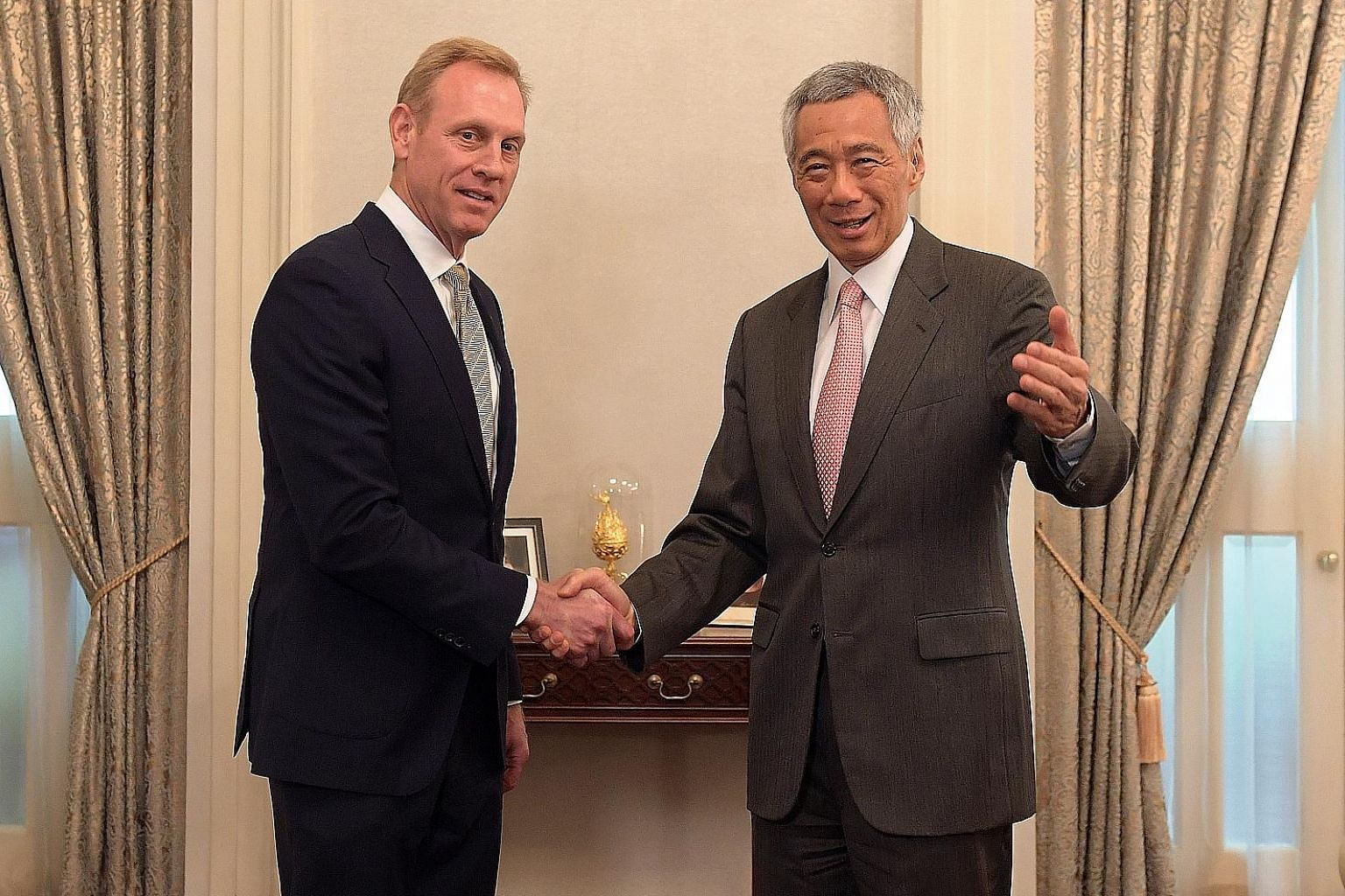US Acting Defence Secretary Patrick Shanahan calling on Prime Minister Lee Hsien Loong at the Istana yesterday. They reaffirmed the excellent and longstanding relations between Singapore and the US. ST PHOTO: ALPHONSUS CHERN