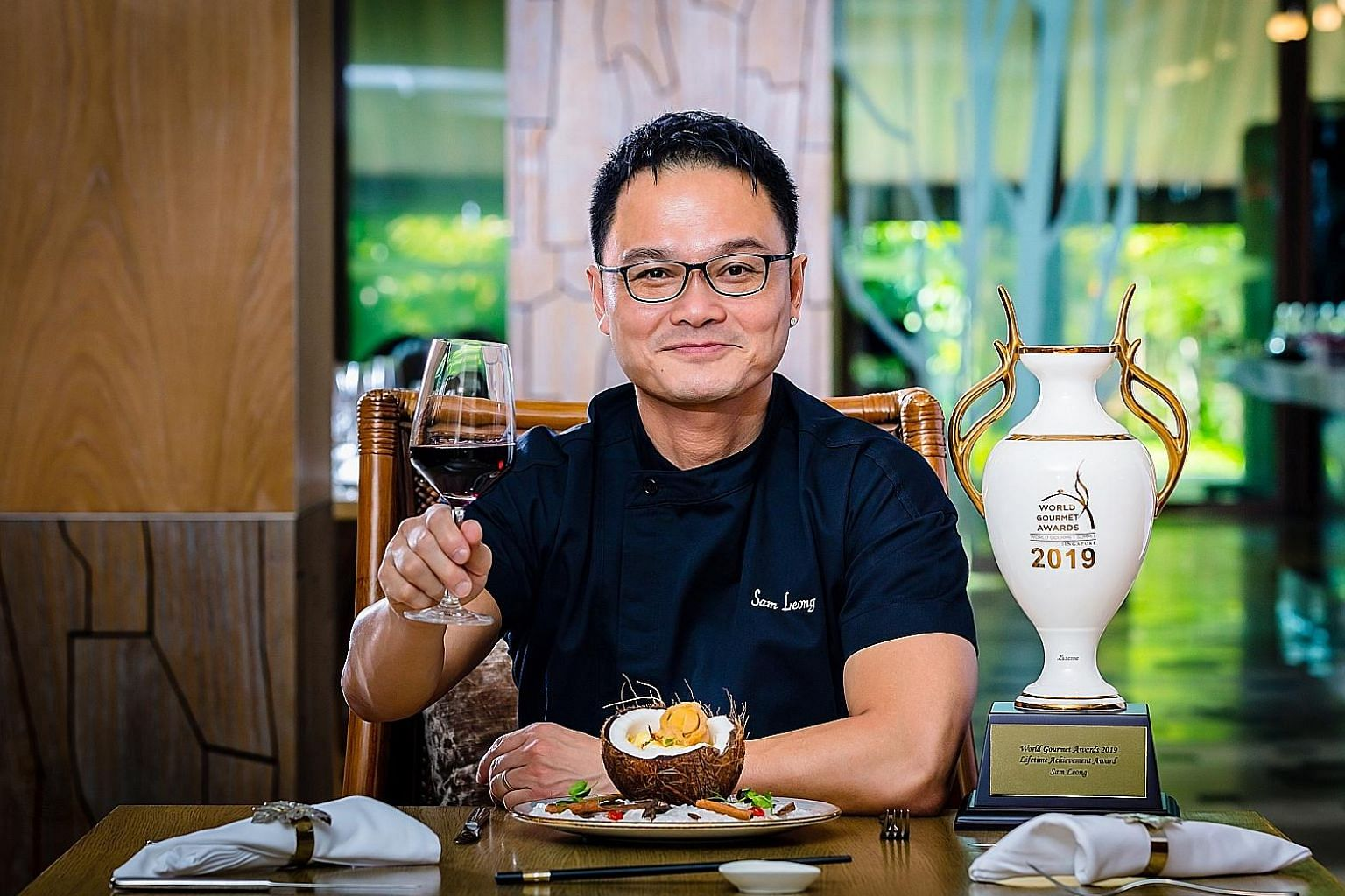 The special six-course menu curated by celebrity chef Sam Leong (right) of Forest includes his Ah Sam Abalone Mee Sua (above). PHOTOS: RESORTS WORLD SENTOSA