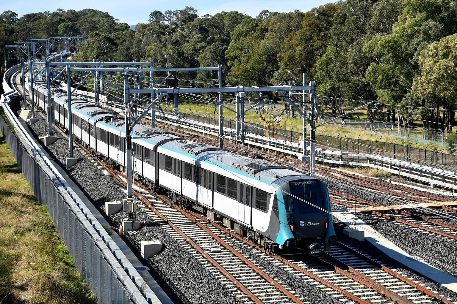 "A Sydney Metro Northwest train. Within a week of the rail line's opening, there have been reports of rogue trains, malfunctioning doors and a power failure. However, the New South Wales state government has insisted that such issues are ""to be expect"