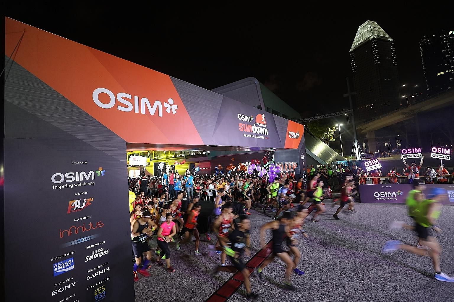 Clockwise from far left: Runners dashing off for the full and half marathons in the Sundown Marathon on Saturday; Kenyan Hillary Kipkering and Singapore's Sharon Tan giving the race - and themselves - the thumbs up after winning the men's and women's