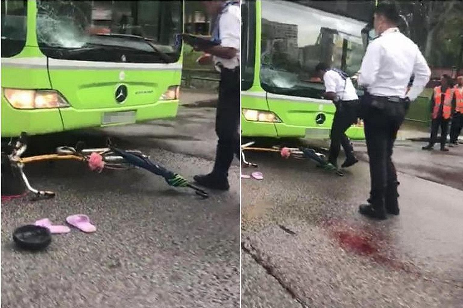 The accident took place in Yuan Ching Road shortly after noon on Tuesday. The 45-year-old cyclist was unconscious when she was taken to the National University Hospital. PHOTO: LIANHE WANBAO READER