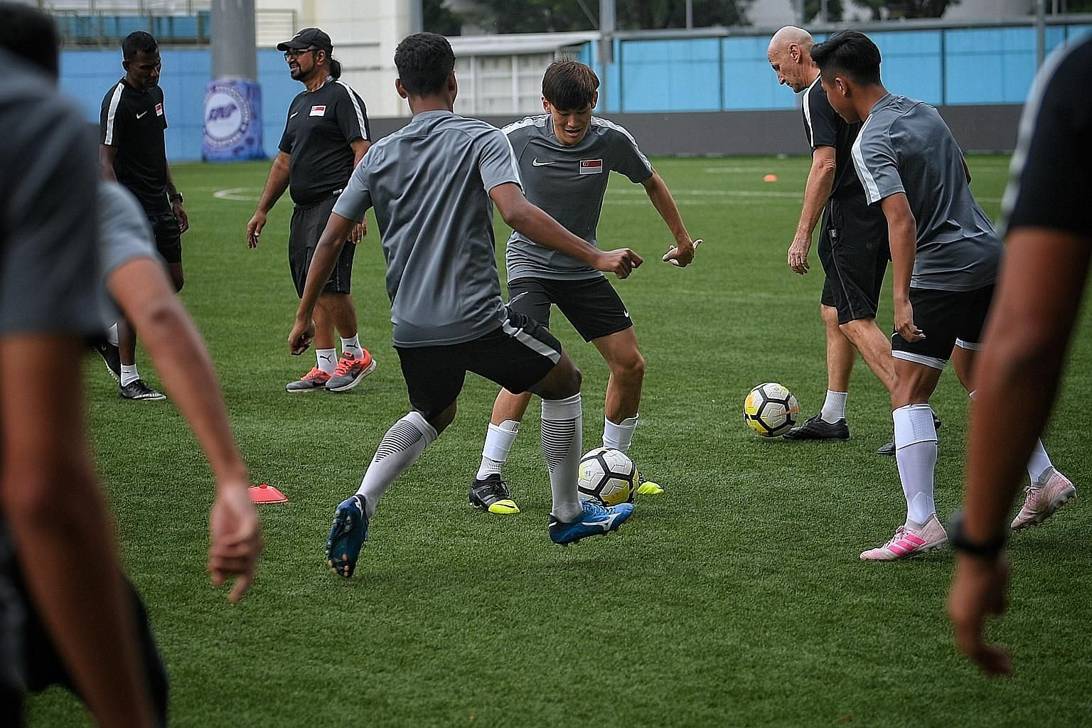 The Singapore Under-22 team training yesterday ahead of the Merlion Cup game against the Philippines at Jalan Besar Stadium tonight.