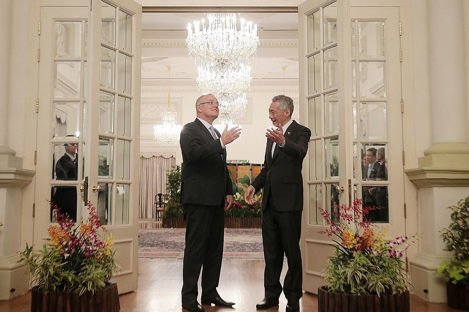 Prime Minister Lee Hsien Loong with Australian Prime Minister Scott Morrison at the Istana yesterday. Mr Morrison is on his first overseas trip after winning the Australian federal election last month. ST PHOTO: JASON QUAH
