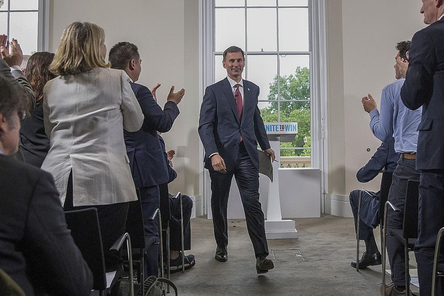 British Foreign Minister Jeremy Hunt after delivering his speech at the launch of his campaign to be the next Conservative Party leader, in London yesterday. Mrs Theresa May stepped down as leader of the party last Friday, and nominations to replace