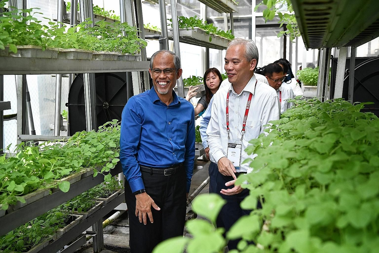 Environment and Water Resources Minister Masagos Zulkifli with Sky Greens founder Jack Ng during a visit to the vertical farm in Lim Chu Kang yesterday. Mr Masagos, who witnessed the certification presentation, noted the growth potential for local fa