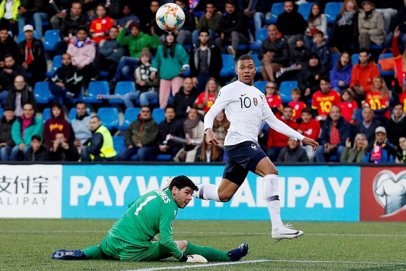France forward Kylian Mbappe scoring the first goal in the 4-0 Euro 2020 qualifying win over Andorra on Tuesday. The French are now top of Group H on goal difference, bouncing back from a shock loss to Turkey last weekend.