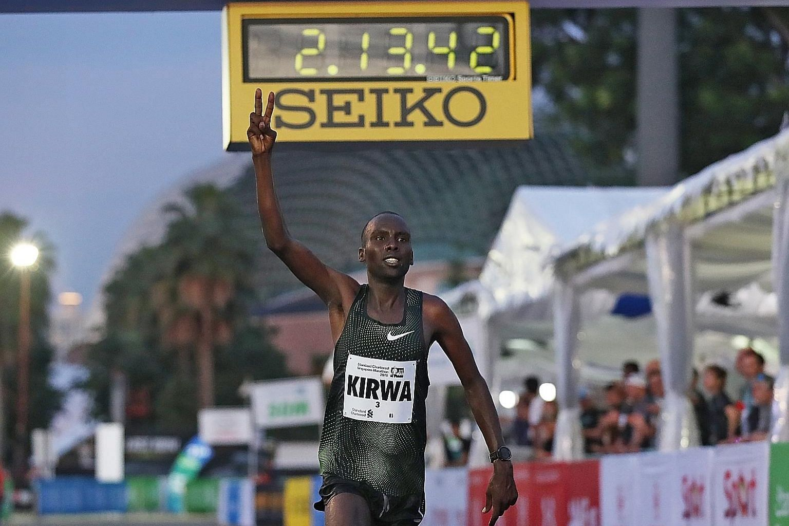 Kenyan Felix Kiptoo Kirwa after crossing the finish line of the Singapore Marathon last year. He has been stripped of his silver medal.