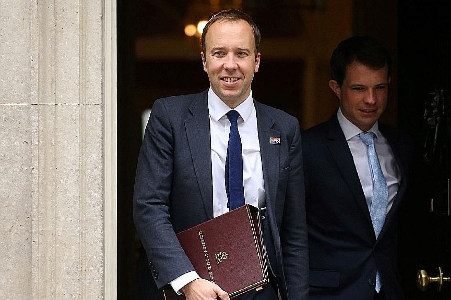 British Health Minister Matt Hancock leaving 10 Downing Street on Tuesday, after a weekly Cabinet meeting. He quit the battle to succeed Mrs Theresa May as Conservative Party leader yesterday. PHOTO: AGENCE FRANCE-PRESSE