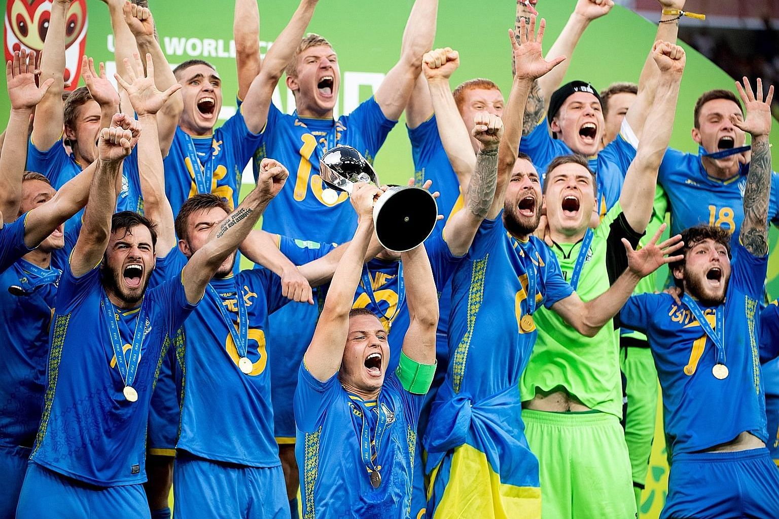 Ukrainian players celebrating after beating South Korea 3-1 in the final to lift the Fifa Under-20 World Cup in Lodz, Poland, on Saturday. Vladyslav Supriaha was the star for Ukraine, the 19-year-old Dynamo Kiev player scoring twice as his country wo