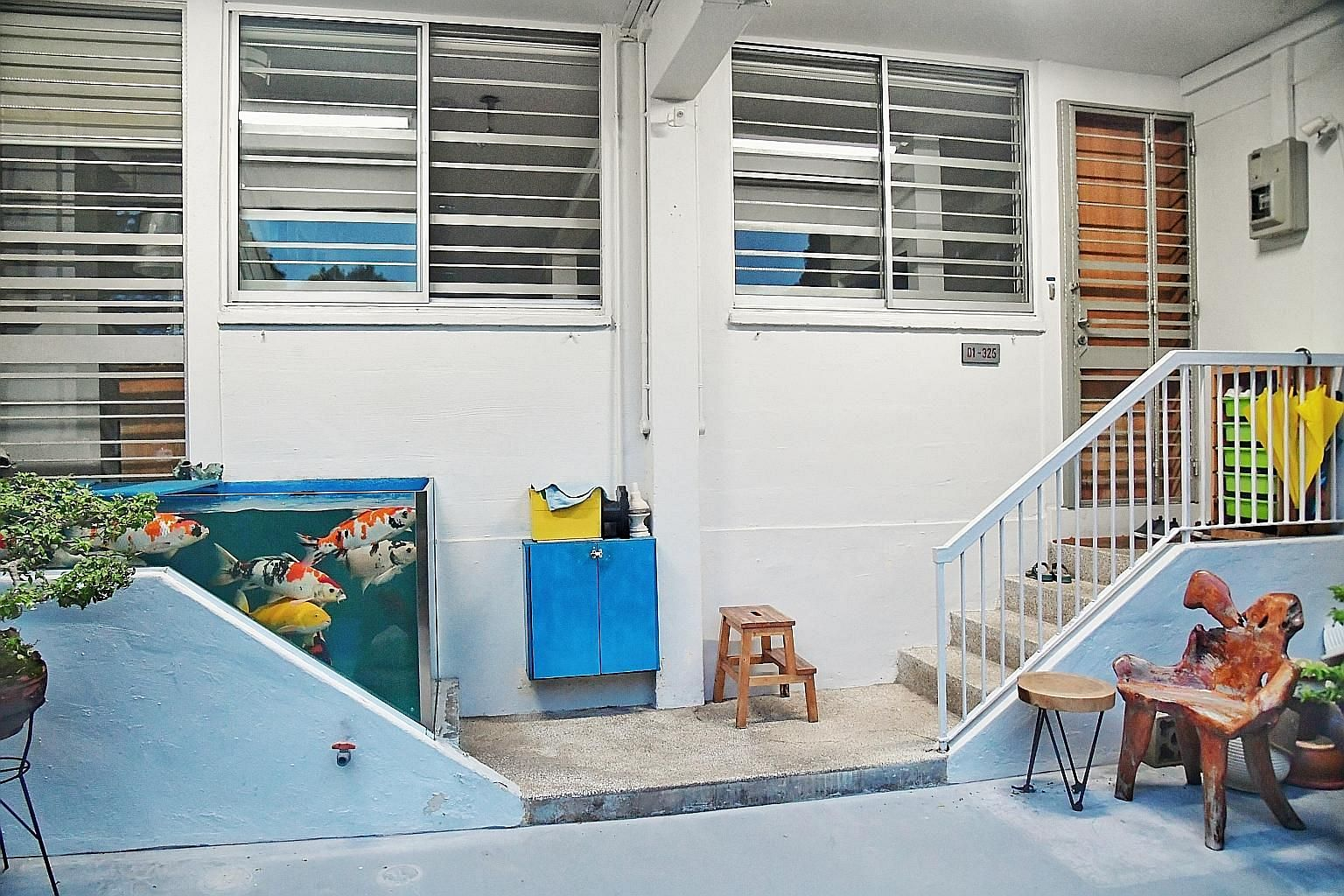 A Tampines resident in April had to dismantle a koi tank he built on the four-step staircase leading to his flat despite receiving support from Tampines Town Council. The HDB had said a permanent structure should not be installed at what was fundamentally