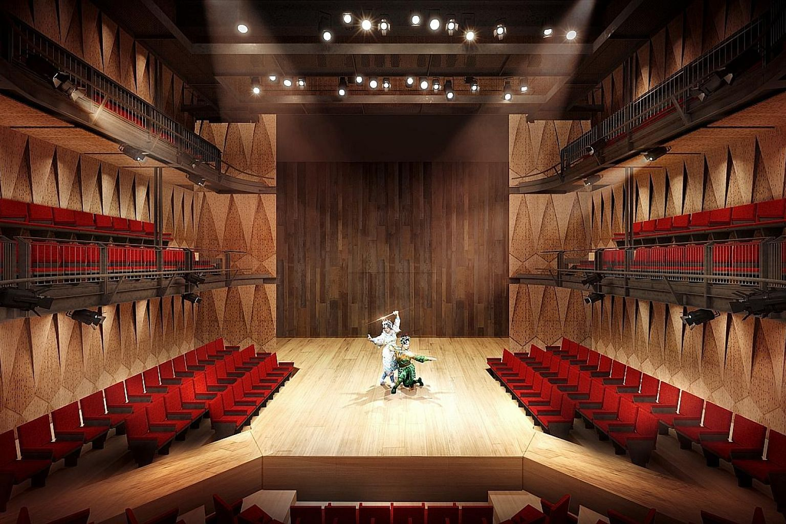 An artist's impression of Wild Rice's 360-seat theatre at Funan mall. Its new 18,000 sq ft complex will now open on Aug 8 with a restaging of Thomas Lim's domestic drama Supervision.
