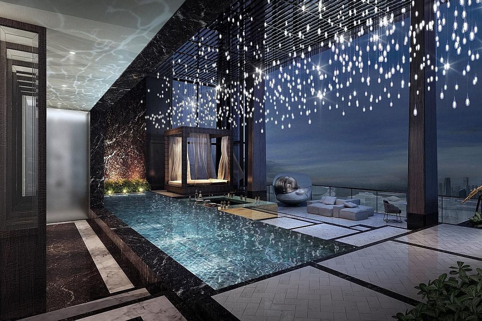 """The 21,108 sq ft """"super penthouse"""" in Wallich Residence has a pool, a cabana, a jacuzzi and panoramic views of Marina Bay and Sentosa."""
