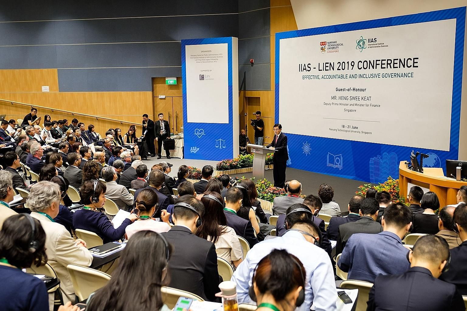 Deputy Prime Minister and Minister for Finance Heng Swee Keat delivering a keynote address yesterday at the opening ceremony of the IIAS-Lien 2019 Conference held at the Nanyang Technological University, where he spoke about the three key principles