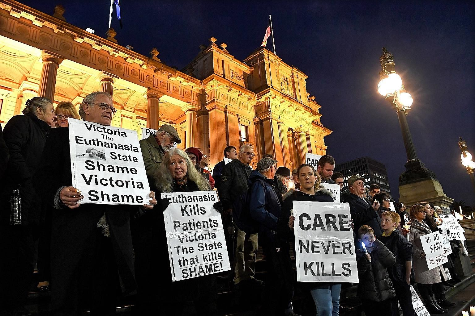 Pro-life demonstrators outside Victoria's state Parliament in Melbourne last Tuesday, ahead of the voluntary assisted dying laws coming into effect the next day.