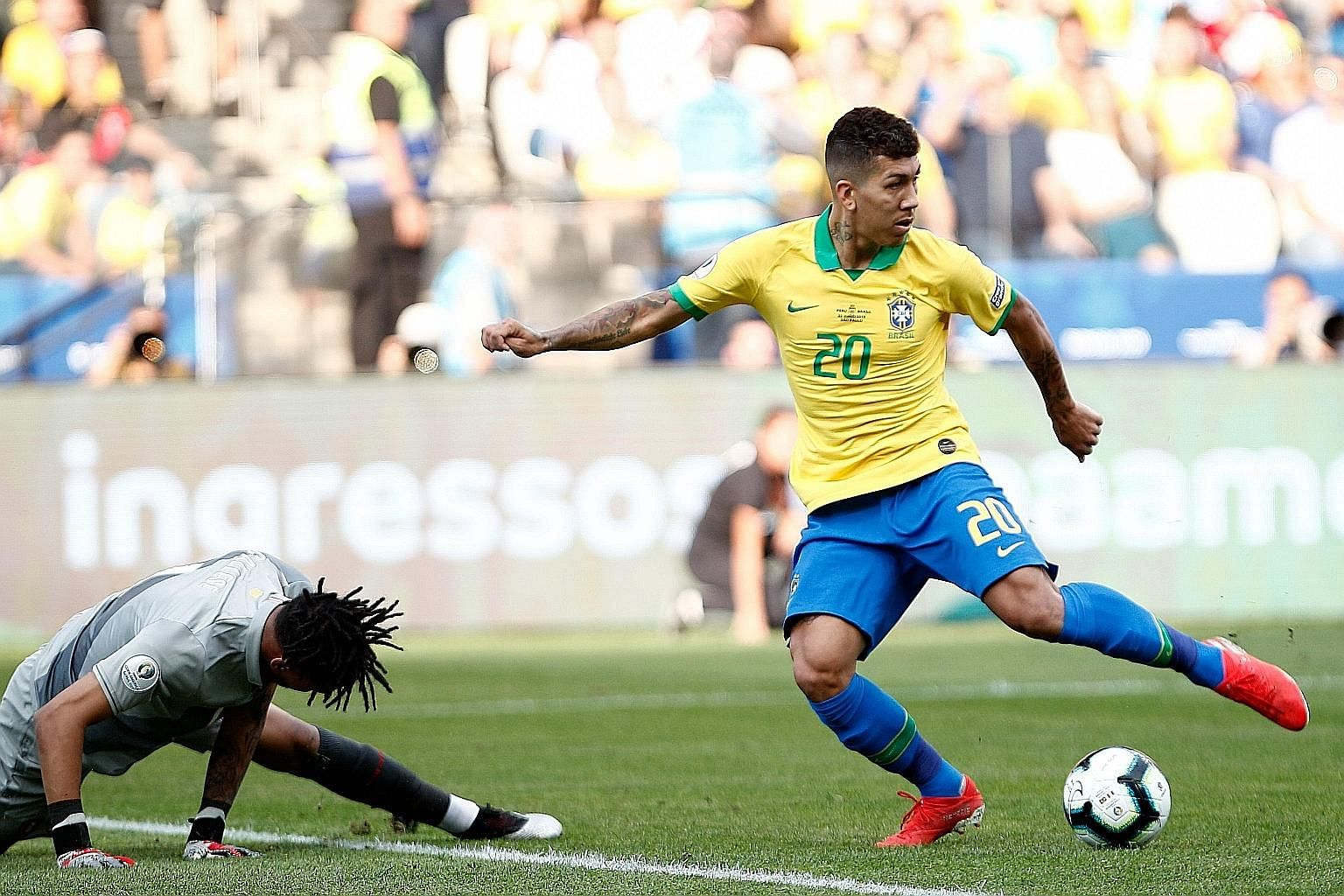 Roberto Firmino's no-look strike which left Peru goalkeeper Pedro Gallese stranded was the pick of the bunch in Brazil's 5-0 Copa America victory in Sao Paulo on Saturday.