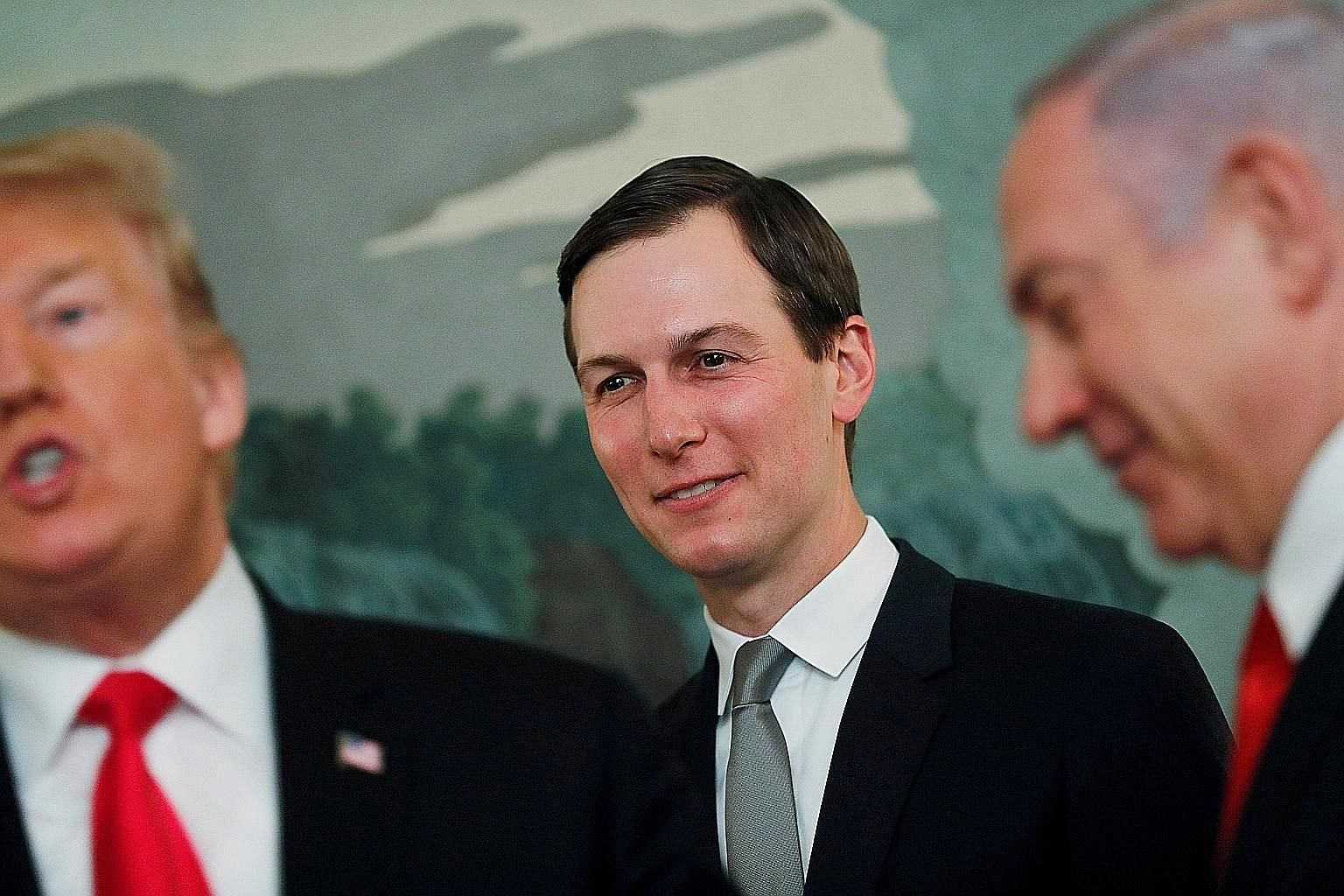 """Mr Jared Kushner, seen here with Israel's Prime Minister Benjamin Netanyahu (right), insists that his Peace To Prosperity plan is """"realistic""""."""