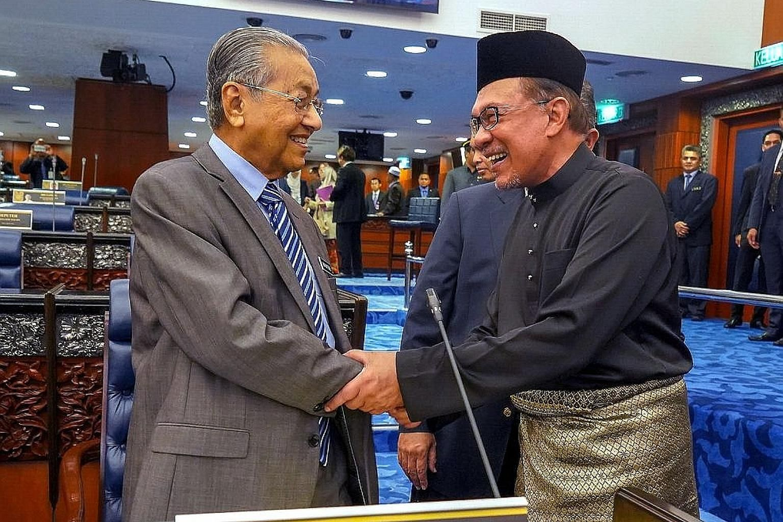 Malaysian Prime Minister Mahathir Mohamad and his designated successor and former protege Anwar Ibrahim in a photo taken last year.
