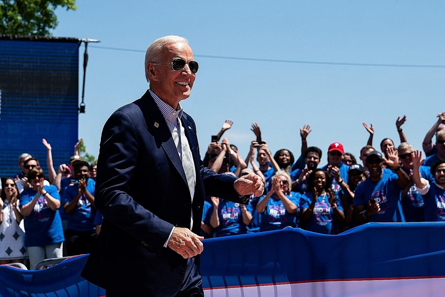 Former US vice-president Joe Biden during a rally kicking off his presidential campaign in Philadelphia last month. Mr Biden, 76, now in his third White House bid, leads comfortably in all polls and is the Democratic candidate to beat in the most cro