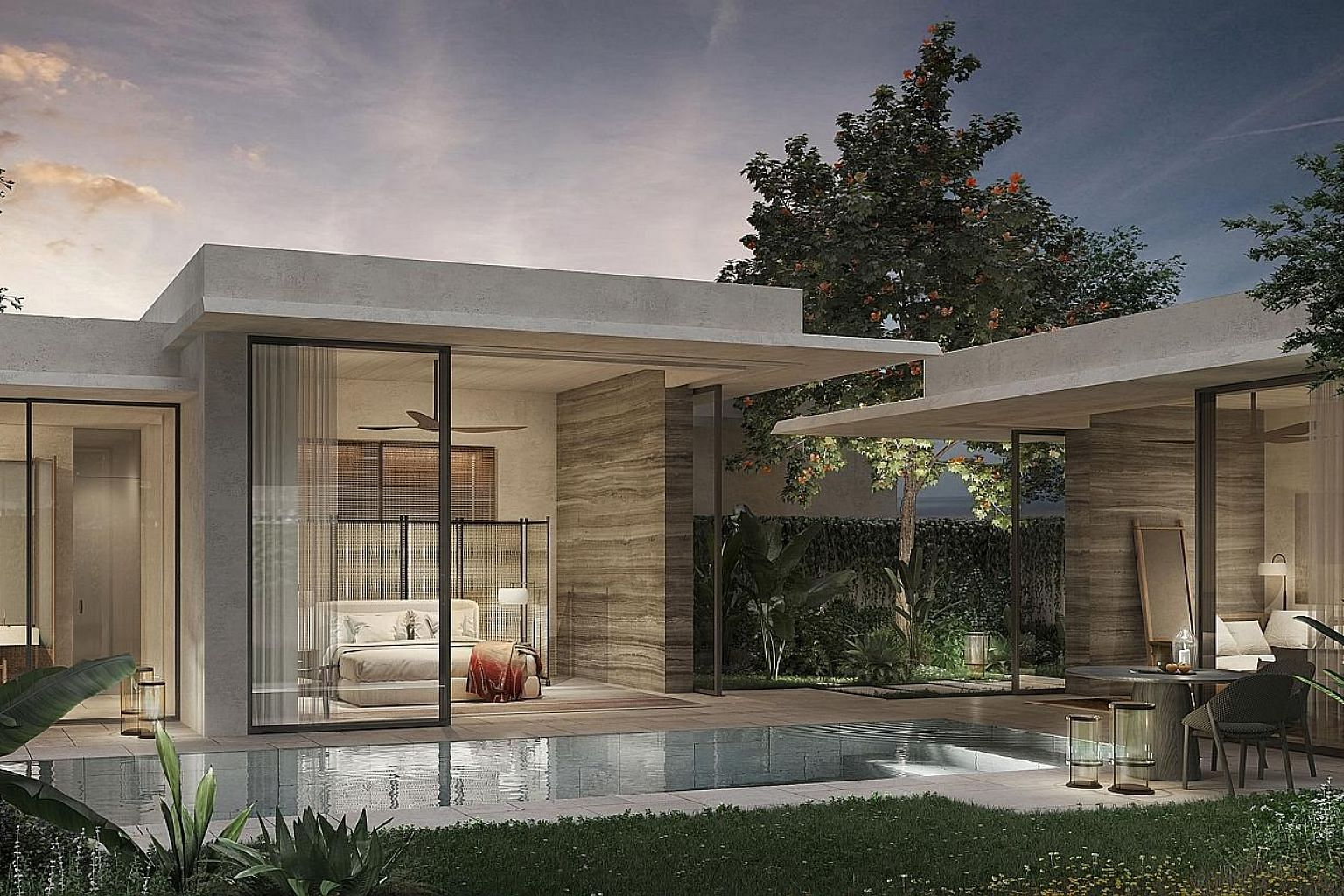 The proposed Raffles Sentosa Resort & Spa Singapore will feature 61 villas, each with its own courtyard and private swimming pool, on a one million sq ft property adjacent to the existing Sofitel on the island. The forested area is currently unoccupi