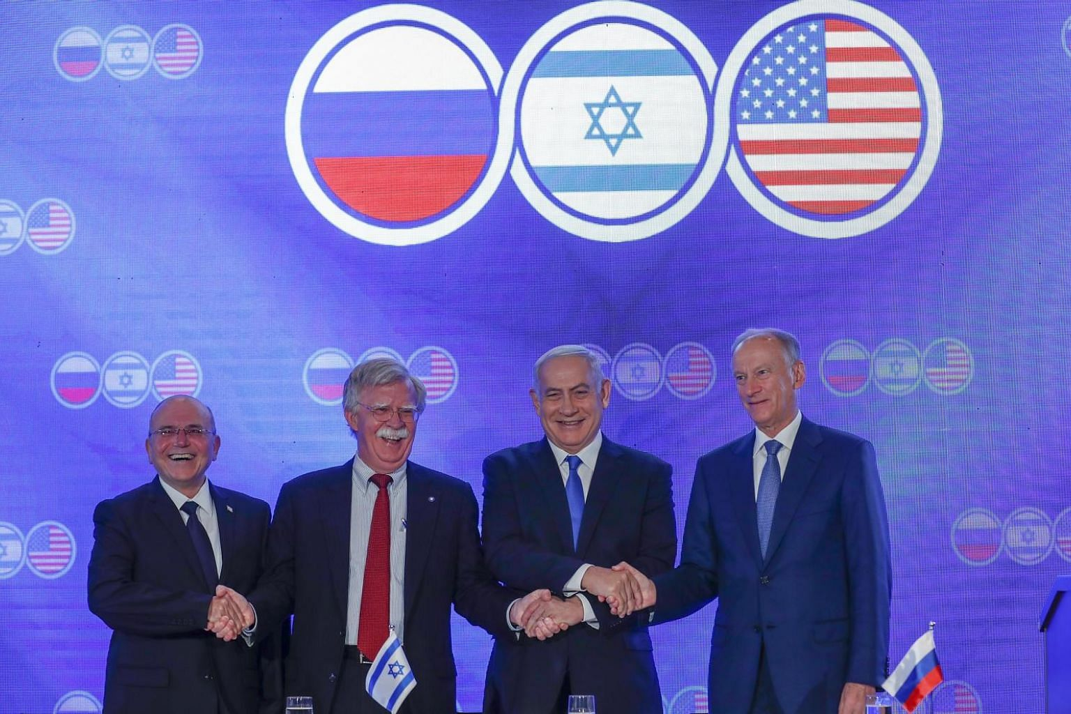 (From right) Russian Secretary of the Security Council Nikolai Patrushev, Israeli Prime Minister Benjamin Netanyahu, US National Security Adviser John Bolton and Israeli security adviser Meir Ben-Shabbat, at a press conference of the trilateral meeti